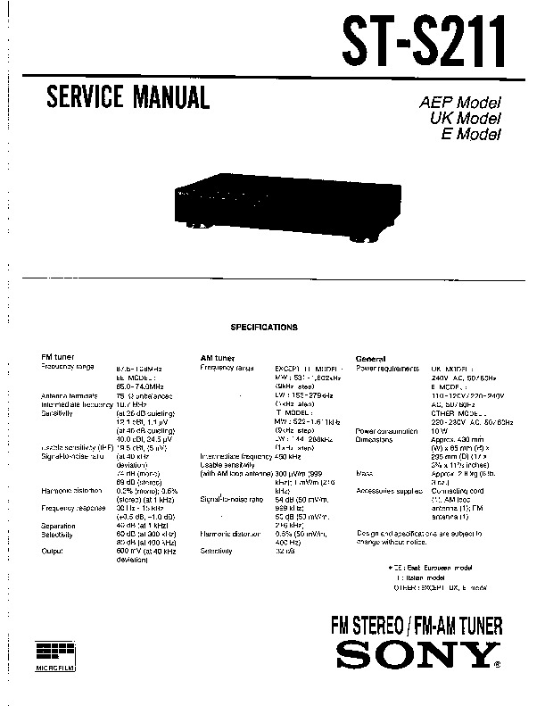 Sony ST-S211 Service Manual — View online or Download