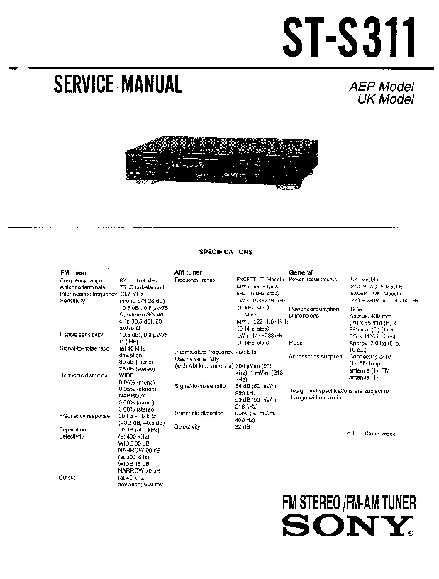 Sony ST-S311 Service Manual — View online or Download