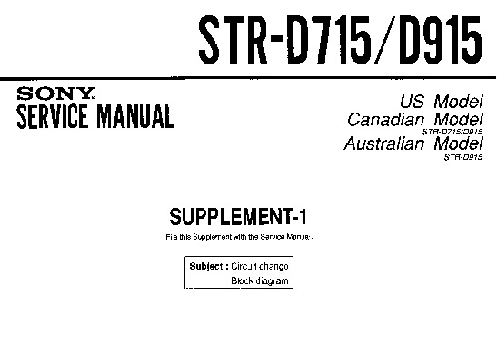 Sony STR-D715, STR-D915 (SERV.MAN2) Service Manual — View