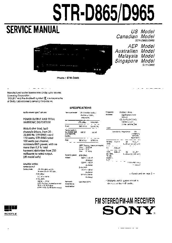 Sony STR-D865, STR-D965 Service Manual — View online or
