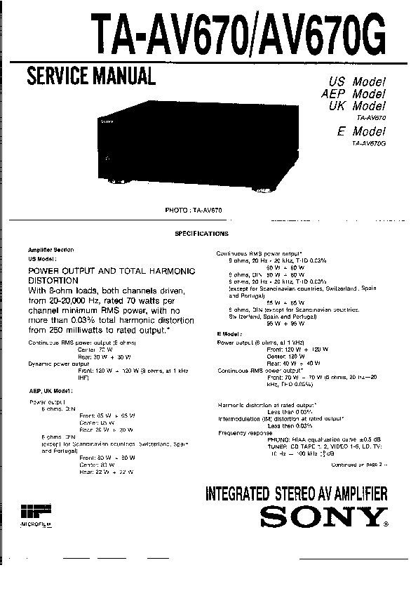 Sony TA-AV670, TA-AV670G (SERV.MAN2) Service Manual — View