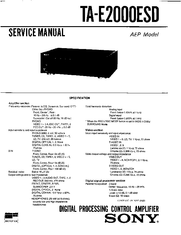 Sony TA-E2000ESD Service Manual — View online or Download
