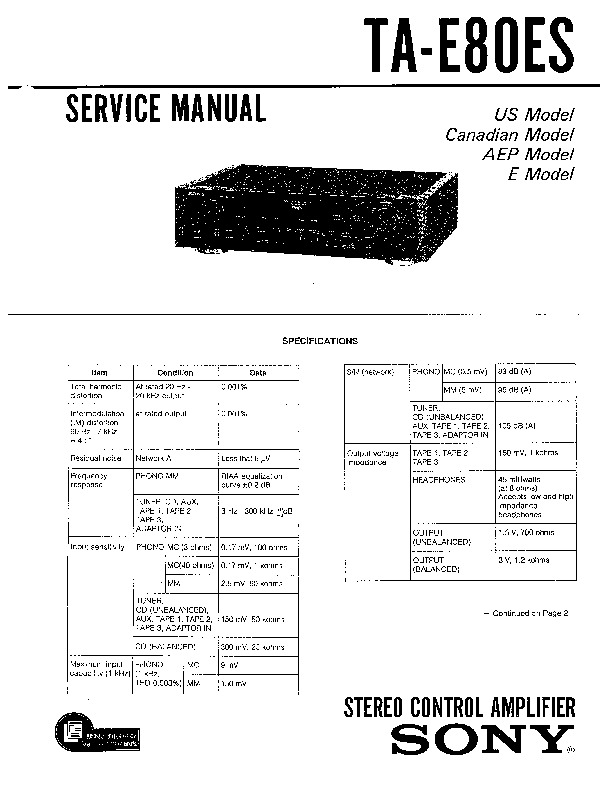 Sony TA-E80ES (SERV.MAN4) Service Manual — View online or