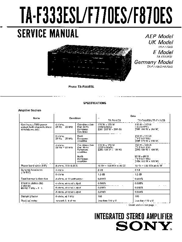Sony TA-F333ESL, TA-F770ES, TA-F870ES Service Manual