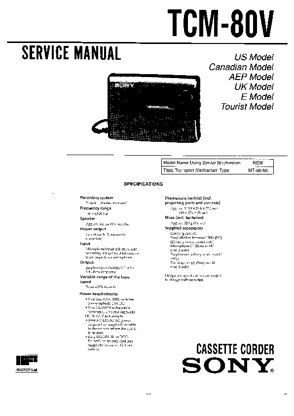 Sony TCM-80V Service Manual — View online or Download