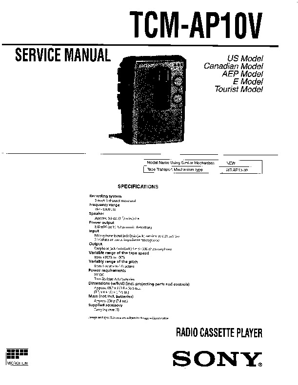 Sony TCM-AP10V (SERV.MAN2) Service Manual — View online or