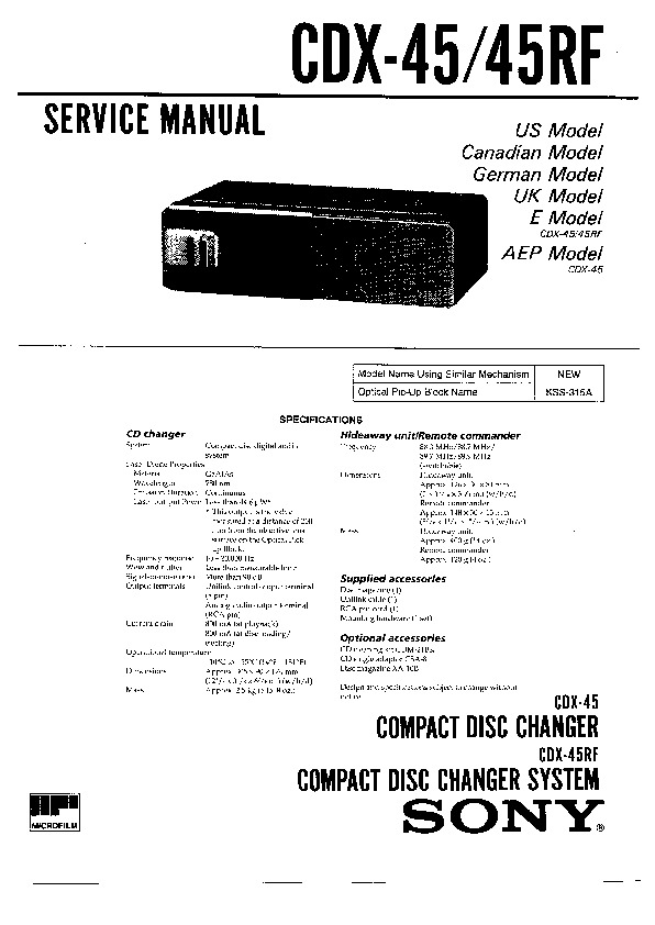 Sony CDX-45, CDX-45RF Service Manual — View online or