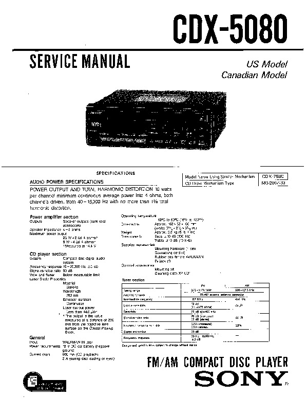 Sony CDX-5080 Service Manual — View online or Download