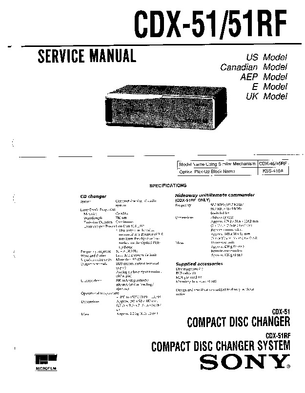 Sony CDX-51, CDX-51RF Service Manual — View online or