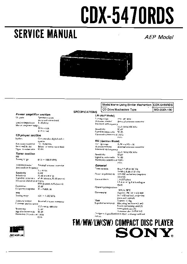 Sony CDX-5470RDS Service Manual — View online or Download