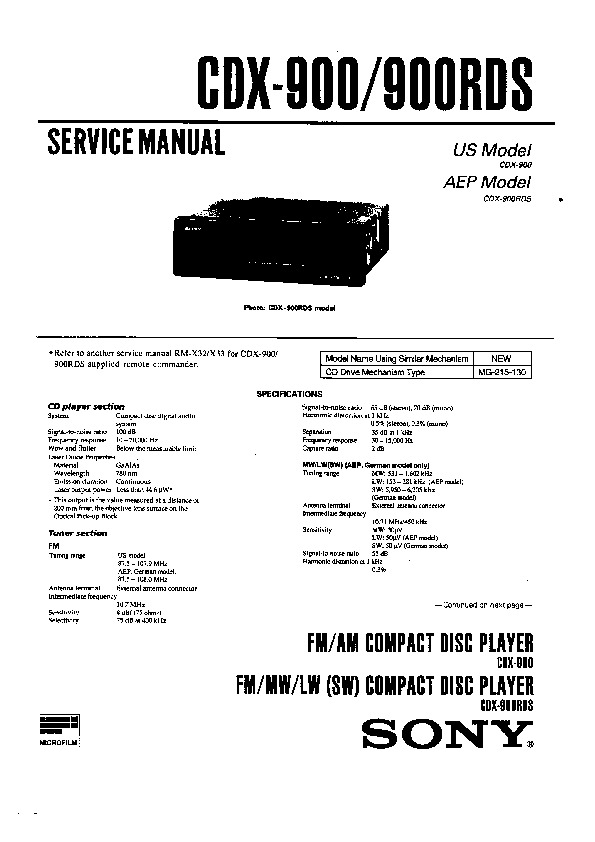 Sony CDX-900, CDX-900RDS (SERV.MAN2) Service Manual — View online or Download repair manual