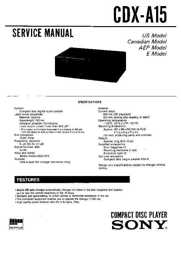 Sony CDX-A15 Service Manual — View online or Download