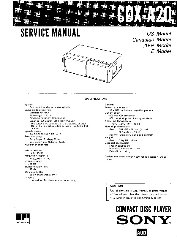 Sony CDX-A20 (SERV.MAN2) Service Manual — View online or