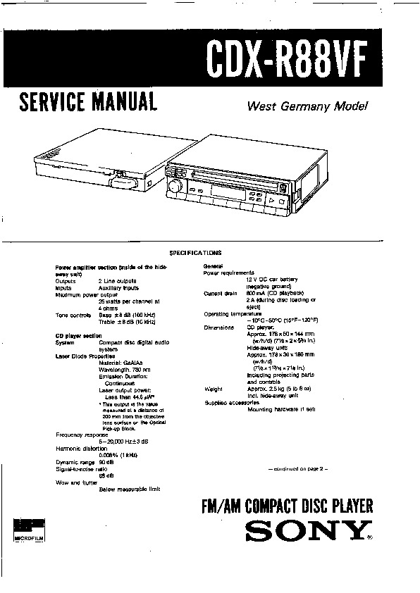 Sony CDX-R66, CDX-R88 Service Manual — View online or