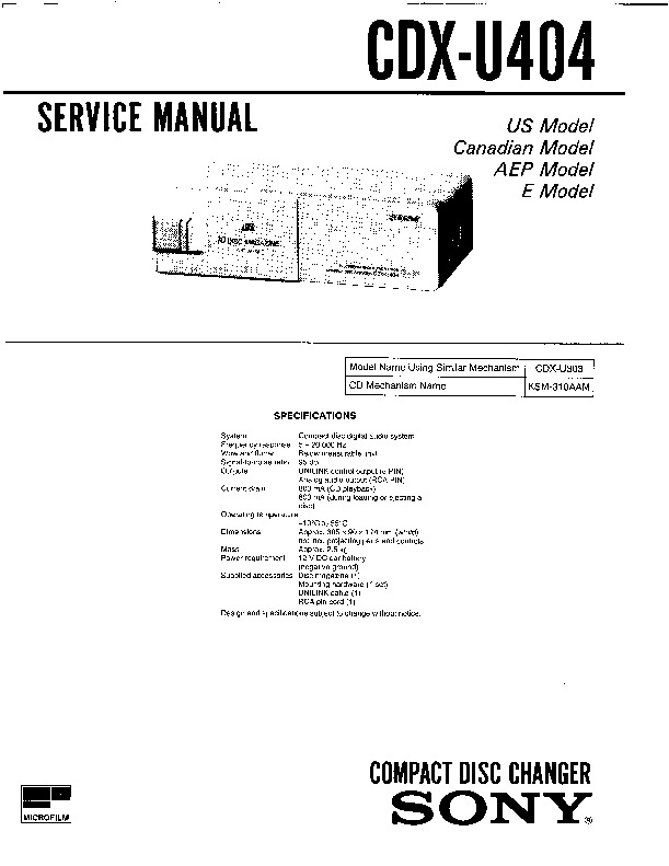 Sony XR-U500RDS, XR-U700RDS (SERV.MAN2) Service Manual