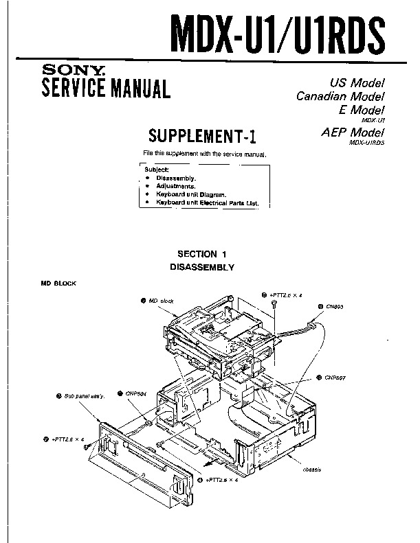 Sony MDX-U1 Service Manual — View online or Download