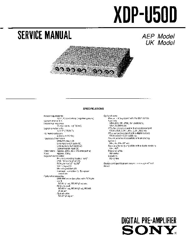 Sony XDP-U50D, XR-U700RDS, XR-U800RDS Service Manual