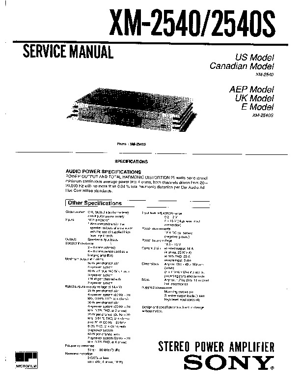 Sony XM-2540, XM-2540S Service Manual — View online or