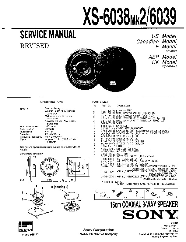 Sony XS-6038 Service Manual — View online or Download