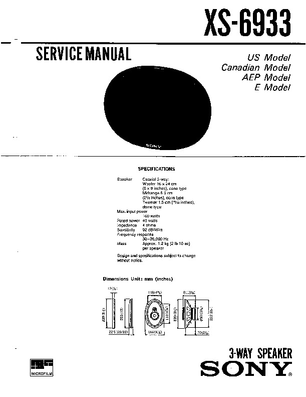 Sony XS-6933 Service Manual — View online or Download