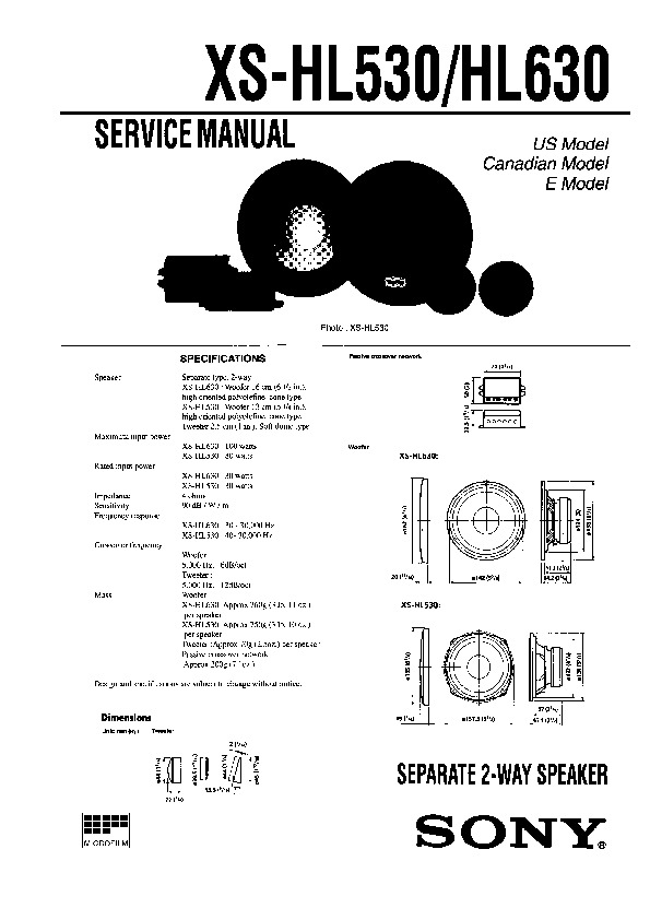 Sony XS-HL530 Service Manual — View online or Download