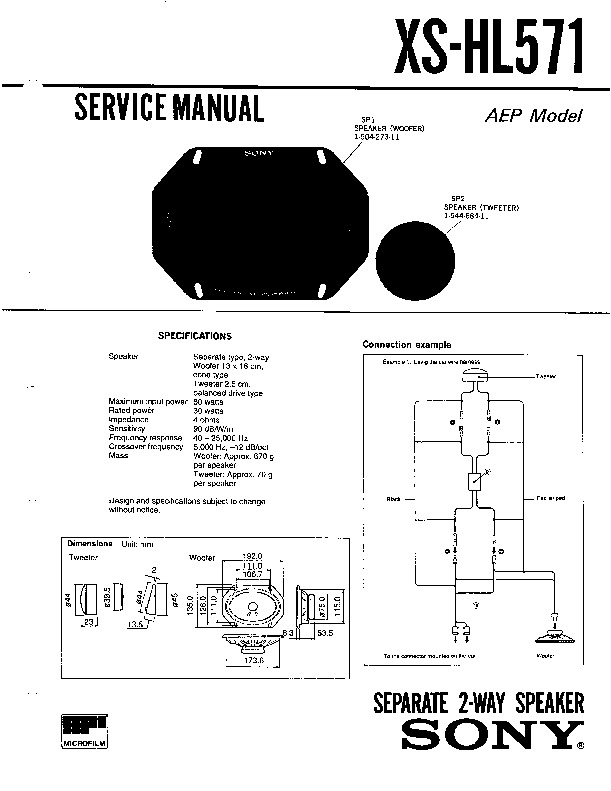 Sony XS-HL571 Service Manual — View online or Download