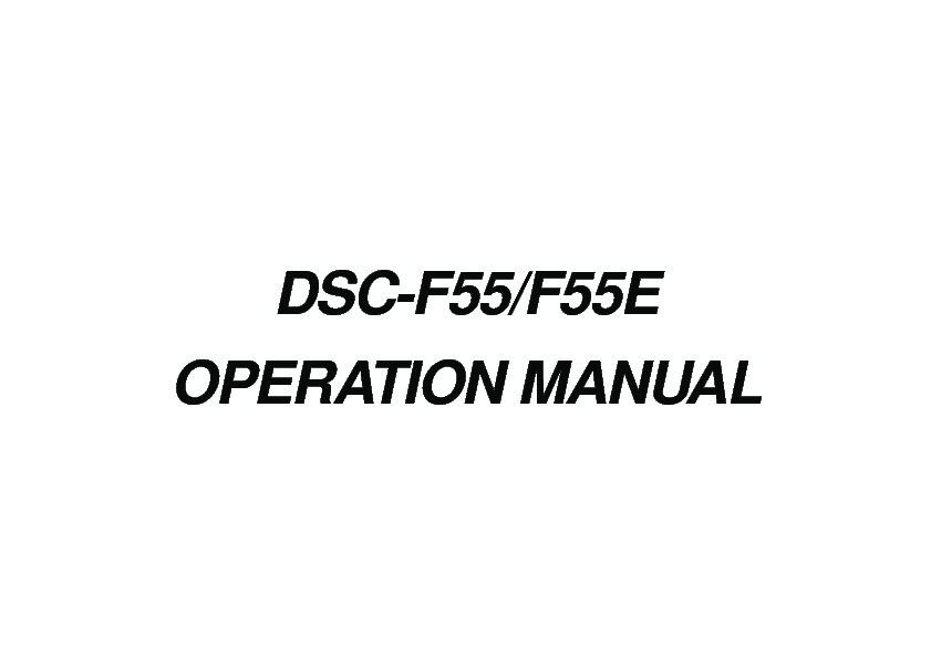 Sony DSC-F55, DSC-F55E (SERV.MAN4) Service Manual — View