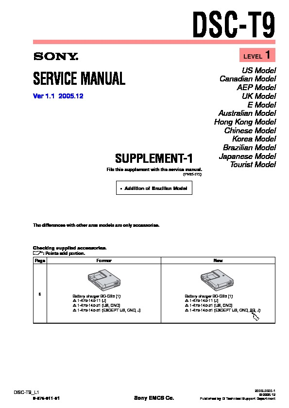 Sony DSC-T3, DSC-T9 Service Manual — View online or