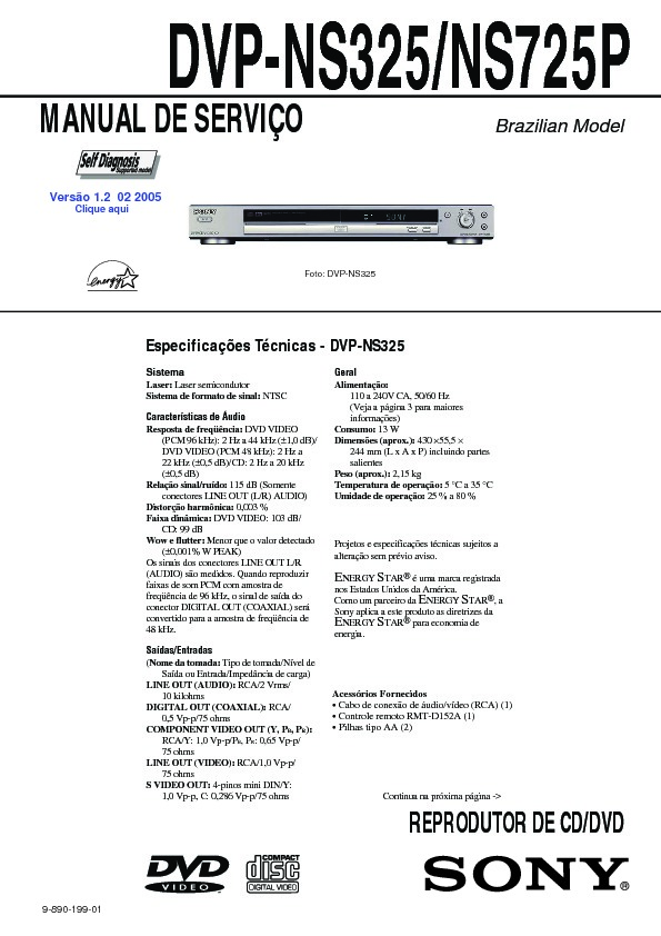 Sony DVP-NS325, DVP-NS725P Service Manual — View online or