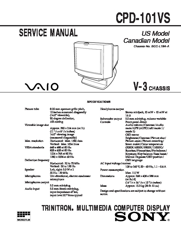 Sony CPD-101VS Service Manual — View online or Download