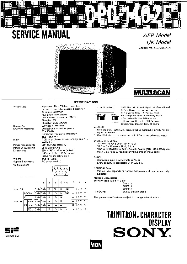 Sony CPD-1402E Service Manual — View online or Download