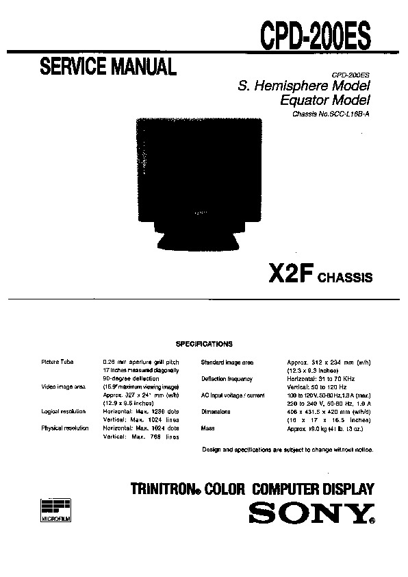 Sony CPD-200ES Service Manual — View online or Download