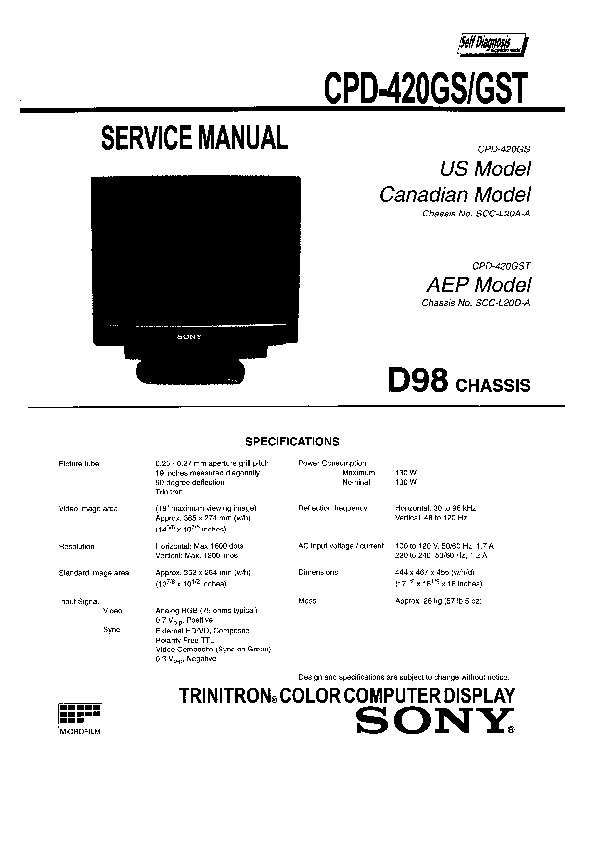 Sony CPD-420GS, CPD-420GST Service Manual — View online or