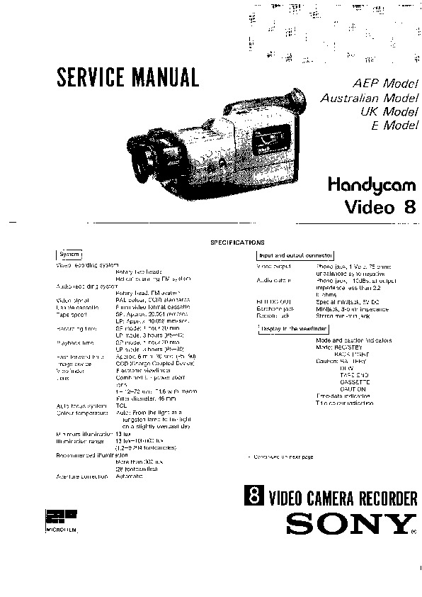 Sony Movie Service Manuals and Schematics — repair