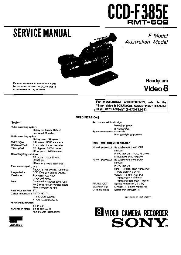 Sony CCD-F385E (SERV.MAN2) Service Manual — View online or