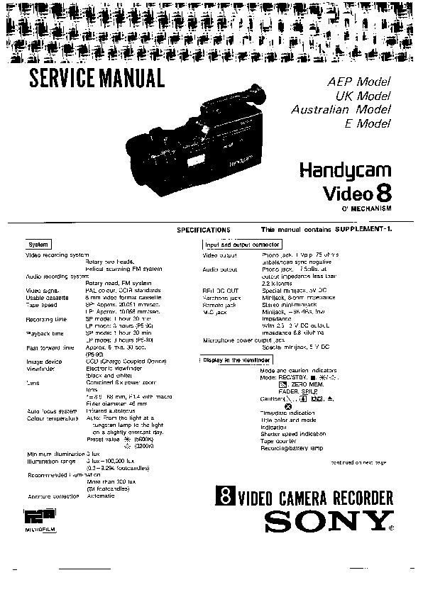 Sony CCD-F500E Service Manual — View online or Download