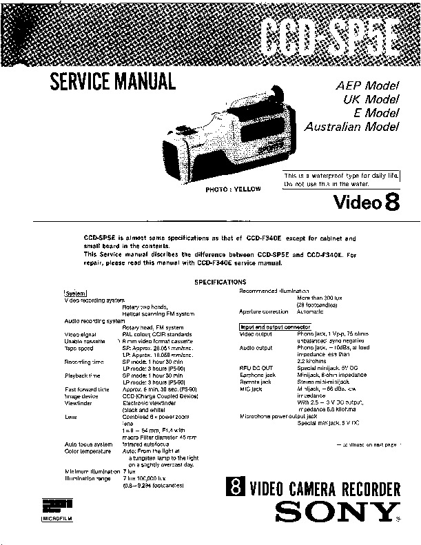 Sony CCD-SP5E (SERV.MAN3) Service Manual — View online or