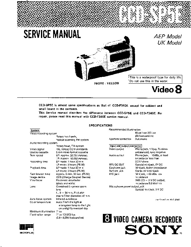 Sony CCD-SP5E (SERV.MAN4) Service Manual — View online or