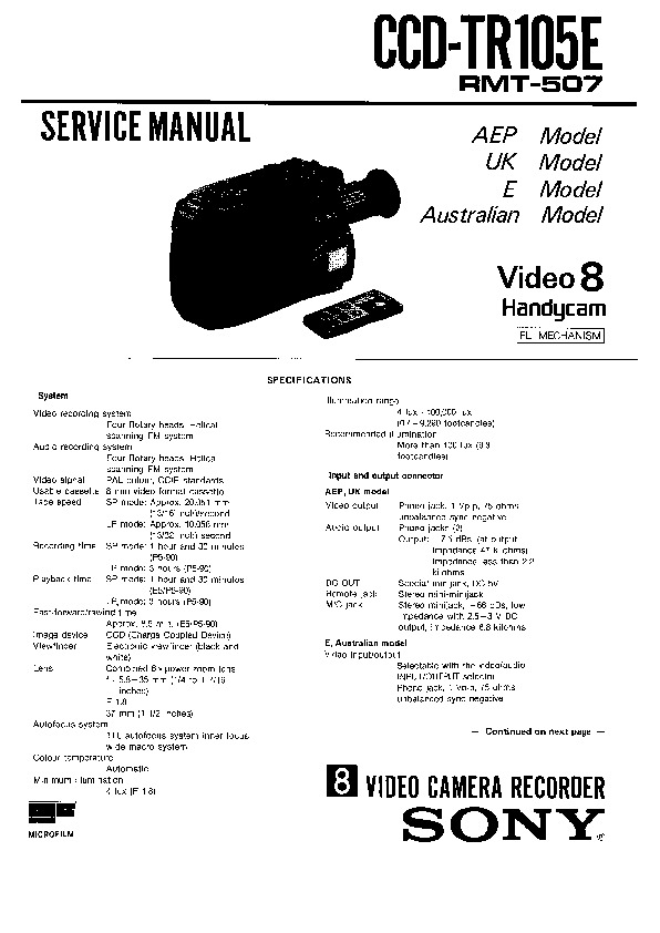 Sony CCD-TR105E Service Manual — View online or Download