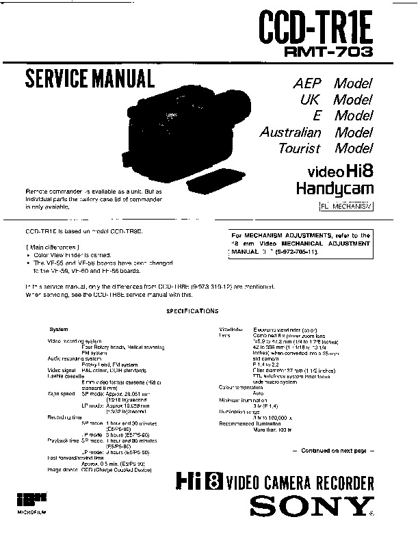 Sony CCD-TR1E (SERV.MAN2) Service Manual — View online or