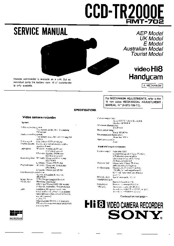 Sony CCD-TR2000, CCD-TR700 Service Manual — View online or