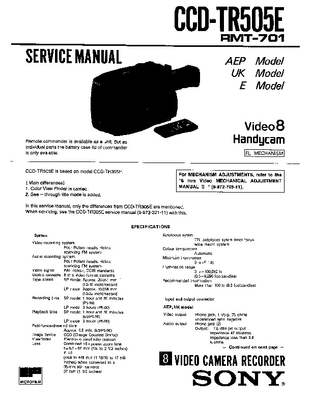 Sony CCD-TR505E Service Manual — View online or Download