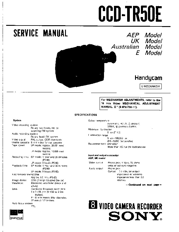 Sony CCD-TR50E Service Manual — View online or Download
