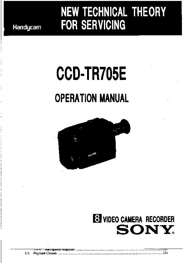 Sony CCD-TR705E Service Manual — View online or Download