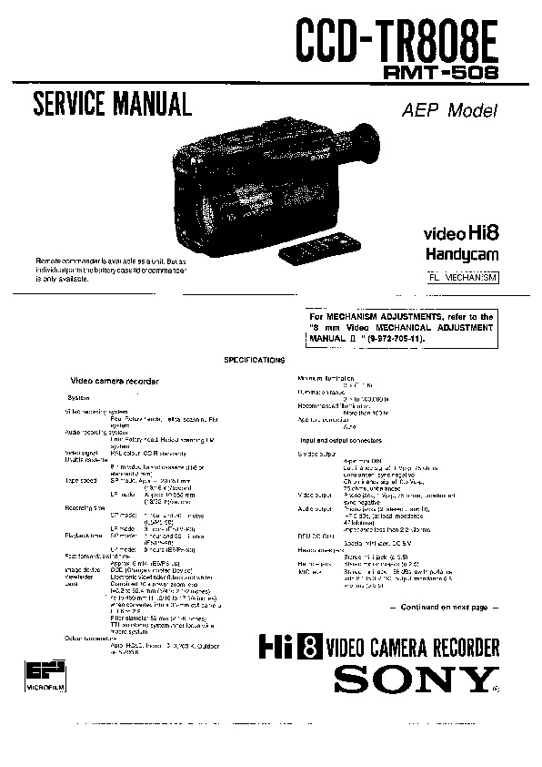 Sony CCD-TR808E Service Manual — View online or Download