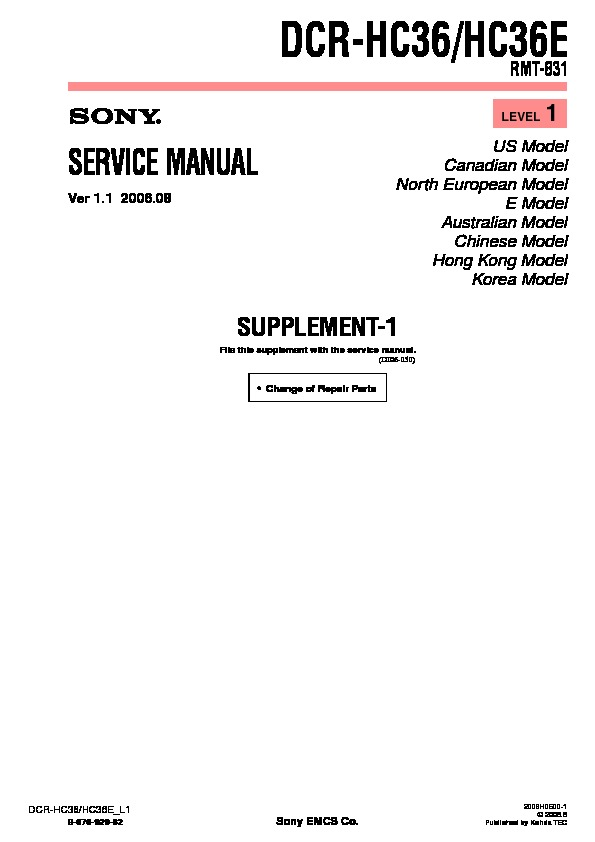 Sony DCR-HC36, DCR-HC36E (SERV.MAN9) Service Manual — View