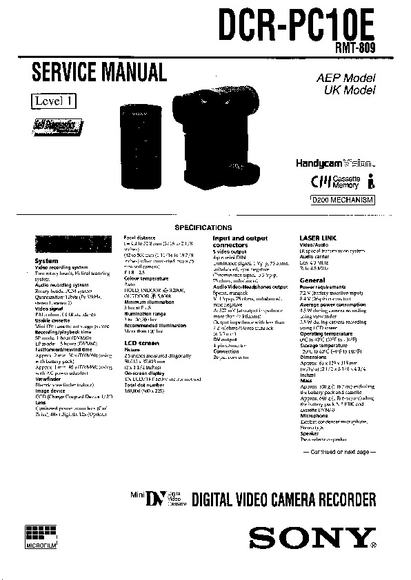 Sony DCR-PC10E Service Manual — View online or Download