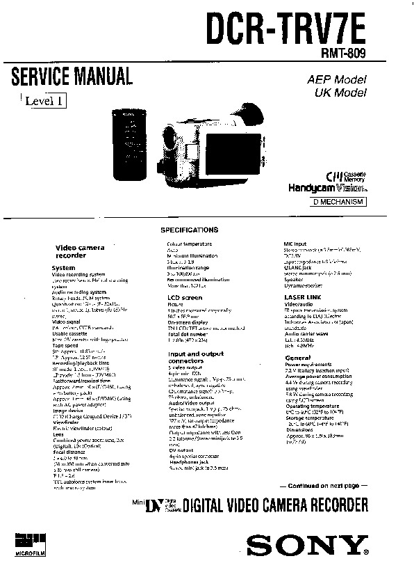 Sony DCR-TRV7E Service Manual — View online or Download