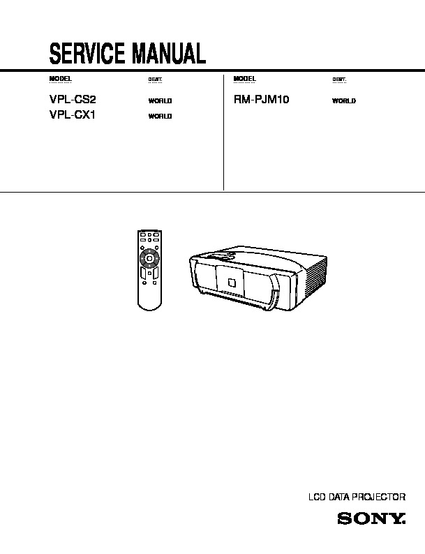 Sony RM-PJM10, VPL-CS2, VPL-CX1 Service Manual — View