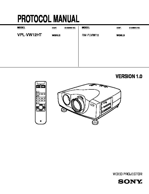 Sony RM-PJVW10, VPL-VW12HT (SERV.MAN2) Service Manual